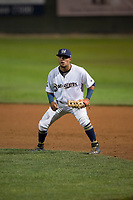 Helena Brewers first baseman Bryan Torres (16) during a Pioneer League game against the Orem Owlz at Kindrick Legion Field on August 21, 2018 in Helena, Montana. The Orem Owlz defeated the Helena Brewers by a score of 6-0. (Zachary Lucy/Four Seam Images)