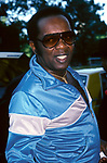 Lou Rawls leaving his hotel on June 15, 1986 in <br />New York City.