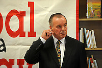 "Mayor Richard M. Daley picks at his ear during a press conference for his ""Principal for a Day"" program of corporate sponsorship and volunteerism in the Chicago Public Schools at Talcott Elementary School, 1840 W. Ohio St., in Chicago, Illinois on October 17, 2008."