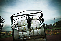 A man loading a truck with long-lasting insecticide-treated mosquito nets that will be distributed for free in Masindi.