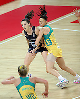 15.10.2016 Silver Ferns Bailey mes and Australia's Sharni Layton in action during the Silver Ferns v Australia netball test match played at Vector Arena in Auckland. Mandatory Photo Credit ©Michael Bradley.