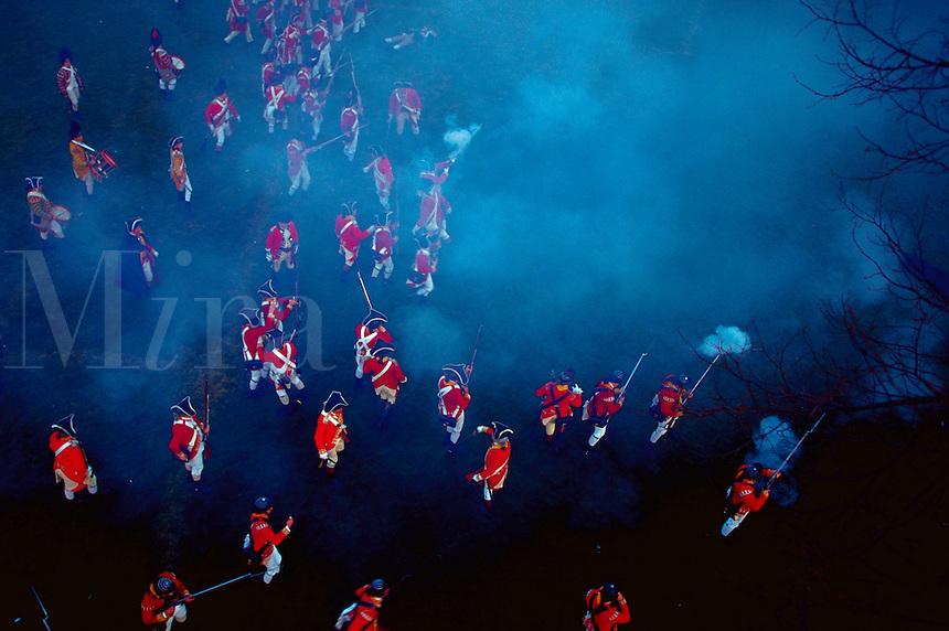 Overhead shot of Redcoats at a Revolutionary War reenactment. Lexington, Massachusetts.