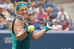 Victoria Azarenka (BLR) defeats Yanina Wickmayer (BEL) 7-5, 6-4 at the US Open in Flushing, NY on September 3, 2015.