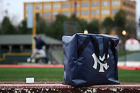 Scranton Wilkes-Barre Yankees ball bag on the dugout step as batting practice takes place before a game against the Rochester Red Wings at Frontier Field on April 12, 2011 in Rochester, New York.  Scranton defeated Rochester 5-3.  Photo By Mike Janes/Four Seam Images