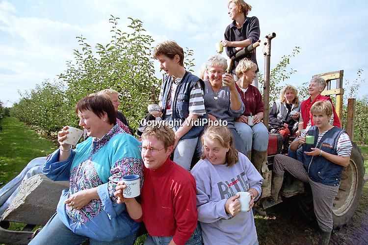 Foto: VidiPhoto..ZETTEN - Lekker op de trekker. Vijftien Zettense vrouwen drinken, zittend op een tractor, gezellig koffie na de appeloogst. Woensdag werden de laatste .appels van fruitteler Van Berkel uit Zetten geplukt. Zijn vrouw trommelde een flink aantal dames uit het dorp op om te komen helpen.