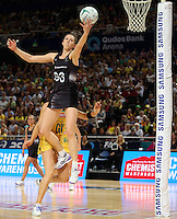 09.10.2016 Silver Ferns Bailey Mes in action during the Silver Ferns v Australia netball test match played at Qudos Bank Arena in Sydney. Mandatory Photo Credit ©Michael Bradley.