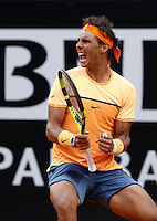Lo spagnolo Rafael Nadal agli Internazionali d'Italia di tennis a Roma, 12 maggio 2016.<br /> Spain's Rafael Nadal reacts after defeating Australia's Nick Kyrgios at the Italian Open tennis tournament in Rome, 12 May 2016.<br /> UPDATE IMAGES PRESS/Isabella Bonotto