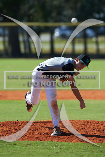 Jack Cue (11) of Southwest Ranches, Florida during the Baseball Factory All-America Pre-Season Rookie Tournament, powered by Under Armour, on January 14, 2018 at Lake Myrtle Sports Complex in Auburndale, Florida.  (Michael Johnson/Four Seam Images)