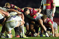 Lewis Boyce of Harlequins prepares to scrummage against his opposite number. Aviva Premiership match, between Harlequins and Saracens on December 3, 2017 at the Twickenham Stoop in London, England. Photo by: Patrick Khachfe / JMP