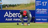 Brian McFadden sets down his hotdog during the final round  of the 2016 Aberdeen Asset Management Ladies Scottish Open played at Dundonald Links Ayrshire from 22nd to 24th July 2016:  Picture Stuart Adams, www.golftourimages.com: 22/07/2016