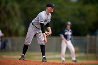 Edgewood Eagles relief pitcher Eric Nelson (19) during the second game of a double header against the Bethel Wildcats on March 15, 2019 at Terry Park in Fort Myers, Florida.  Bethel defeated Edgewood 3-2.  (Mike Janes/Four Seam Images)