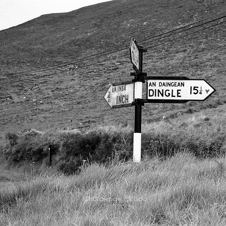 Milepost Sign, Dingle Peninsula, County Kerry, Ireland