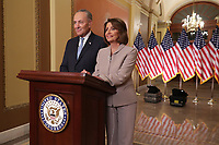 WASHINGTON, DC - JANUARY 08: Speaker of the House Nancy Pelosi (D-CA) and Senate Minority Leader Charles Schumer (D-NY) pose for photographs after delivering a televised response to President Donald Trump's national address about border security at the U.S. Capitol January 08, 2019 in Washington, DC. Republicans and Democrats seem no closer to an agreement on security along the southern border and ending the partial federal government shutdown, the second-longest in history. <br /> CAP/MPI/RS<br /> &copy;RS/MPI/Capital Pictures
