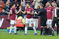Samir Nasri of West Ham United and Robert Snodgrass of West Ham United during West Ham United vs Arsenal, Premier League Football at The London Stadium on 12th January 2019