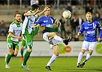2015-10-24 / voetbal / seizoen 2015-2016 / ASV Geel - Dessel Sport / Een duel om de bal tussen Jari Breugelmans (l) (Dessel Sport) en Jo Christiaens (r) (Geel)