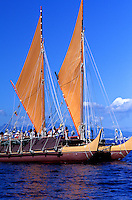 Polynesian voyaging canoe Hokulea in open ocean off the island of Oahu