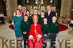 Pupils from Coars NS who made their Confirmation in The O'Connell Memorial Church in Cahersiveen on Monday were front l-r; Siobhan Fitzpatrick(teacher), Luke Harty, Bishop Ray Browne, Shannon O'Donnell, David O'Neill, back l-r; Canon Larry Kelly, Liam O'Connor, David O'Malley, Daniel Devane & Michael O'Sullivan(principal).