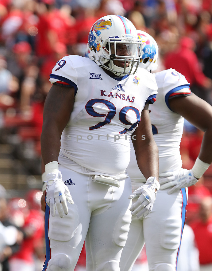 Kansas Jayhawks Corey King (99) during a game against the Rutgers Scarlet Knights on September 26, 2015 at High Point Solutions Stadium in Piscataway, NJ. Rutgers beat Kansas 27-14.