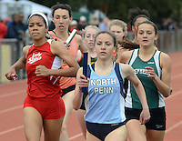 North Penn's Ariana Gardizy leads the pack in the 4x800 relay during the Central Bucks West Relays at Central Bucks West High School Saturday April 23, 2016 in Doylestown, Pennsylvania. (Photo by William Thomas Cain)