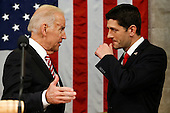 Vice President Joe Biden talks with Speaker Paul Ryan of Wisconsin before the State of the Union address to a joint session of Congress on Capitol Hill in Washington, Tuesday, Jan. 12, 2016. <br /> Credit: Evan Vucci / Pool via CNP