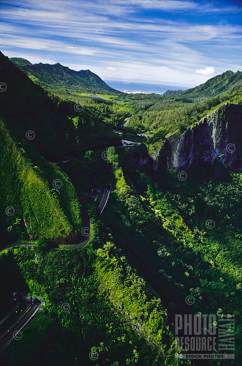 Aerial of Pali lookout and highway over the Koolau moutain range, Oahu