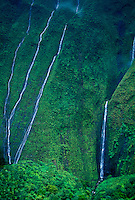 "Waterfalls near Waialeale, near """"Blue Hole""""; Wailua River drainage"