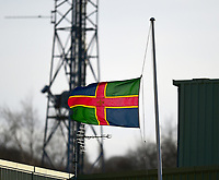 A general view of Sincil Bank, home of Lincoln City FC with the `Lincolnshire flag at half mast in memory of Ian Whyte, a former Youth coach at Lincoln City<br /> <br /> Photographer Andrew Vaughan/CameraSport<br /> <br /> The EFL Sky Bet League Two - Lincoln City v Northampton Town - Saturday 9th February 2019 - Sincil Bank - Lincoln<br /> <br /> World Copyright &copy; 2019 CameraSport. All rights reserved. 43 Linden Ave. Countesthorpe. Leicester. England. LE8 5PG - Tel: +44 (0) 116 277 4147 - admin@camerasport.com - www.camerasport.com