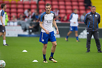 Jamie Vardy of Leicester City warming up as Leicester City manager Craig Shakespeare watches on during the Carabao Cup match between Sheffield United and Leicester City at Bramall Lane, Sheffield, England on 22 August 2017. Photo by James Williamson / PRiME Media Images.