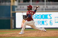 Frisco RoughRiders pitcher Rafael Montero (13) during a Texas League game against the Amarillo Sod Poodles on July 12, 2019 at Dr Pepper Ballpark in Frisco, Texas.  (Mike Augustin/Four Seam Images)