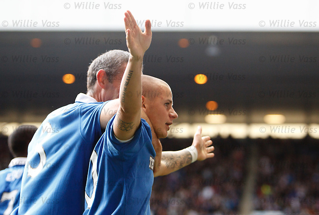 Vladimir Weiss celebrates to the fans in the Govan stand