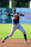 Shortstop Montrell Marshall (22) of South Gwinnett High School in Snellville, Georgia playingfor the Atlanta Braves scout team during the East Coast Pro Showcase on August 1, 2013 at NBT Bank Stadium in Syracuse, New York.  (Mike Janes/Four Seam Images)