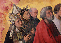 Apostles and saints (Peter in red) in worship before Christ as Supreme Judge on Judgement Day, from the open panels of the polyptych altarpiece, 1446-52, by Rogier van der Weyden, 1399-1464, commissioned by Nicolas Rolin in 1443, in Les Hospices de Beaune, or Hotel-Dieu de Beaune, a charitable almshouse and hospital for the poor, built 1443-57 by Flemish architect Jacques Wiscrer, and founded by Nicolas Rolin, chancellor of Burgundy, and his wife Guigone de Salins, in Beaune, Cote d'Or, Burgundy, France. The altarpiece was originally in the Chapel, but is now in the museum. The panels were only opened to patients during holy days. The hospital was run by the nuns of the order of Les Soeurs Hospitalieres de Beaune, and remained a hospital until the 1970s. The building now houses the Musee de l'Histoire de la Medecine, or Museum of the History of Medicine, and is listed as a historic monument. Picture by Manuel Cohen