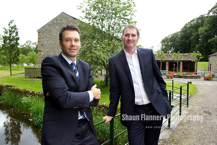 Pix: Shaun Flannery/shaunflanneryphotography.com...COPYRIGHT PICTURE>>SHAUN FLANNERY>01302-570814>>07778315553>>..23rd June 2011...............Finance Yorkshire  - Broughton Laboratories..Coleby House , The Water Mill Park , Broughton Hall , Skipton..Paul Moran (wearing tie), of Broughton Laboratories, with Finance Yorkshire investment manager Jonathan Craig..