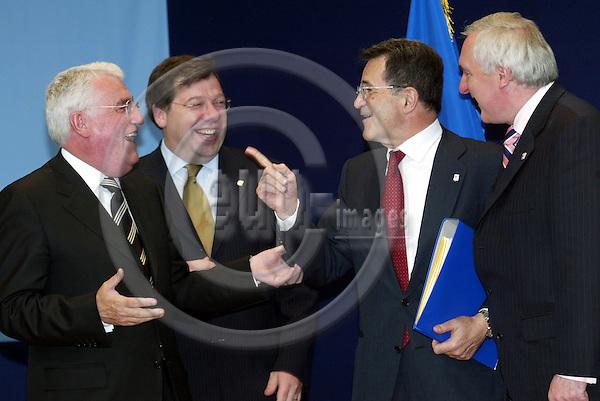 Belgium -- Brussels -- 17 JUNE 2004 -- Council --- EU-Summit -- Arrival -- Dick ROCHE, Minister for European Affairs, Ireland; Brian COWEN, Minister for Foreign affairs, Ireland; Romano PRODI, President of the european commission; Bertie AHERN, Prime Minister, Ireland -- PHOTO:  / ANNA-MARIA ROMANELLI / EUP-IMAGES