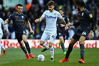 Leeds United's Mateusz Klich takes on Sheffield Wednesday's Morgan Fox and Michael Hector<br /> <br /> Photographer Alex Dodd/CameraSport<br /> <br /> The EFL Sky Bet Championship - Leeds United v Sheffield Wednesday - Saturday 13th April 2019 - Elland Road - Leeds<br /> <br /> World Copyright © 2019 CameraSport. All rights reserved. 43 Linden Ave. Countesthorpe. Leicester. England. LE8 5PG - Tel: +44 (0) 116 277 4147 - admin@camerasport.com - www.camerasport.com