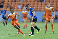 Houston, TX - Sunday August 13, 2017:  Nichelle Prince and Brittany Taylor during a regular season National Women's Soccer League (NWSL) match between the Houston Dash and FC Kansas City at BBVA Compass Stadium.