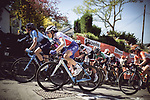Riders climb the brutal Mur de Huy during La Fleche Wallonne Femmes 2018 running 118.5km from Huy to Huy, Belgium. 18/04/2018.<br /> Picture: ASO/Thomas Maheux | Cyclefile.<br /> <br /> All photos usage must carry mandatory copyright credit (&copy; Cyclefile | ASO/Thomas Maheux)
