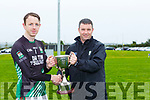 Pierce Kirby St Michaels Foilmore receives The Cahill Cup after defeating Churchill in the final in Currans on Saturday