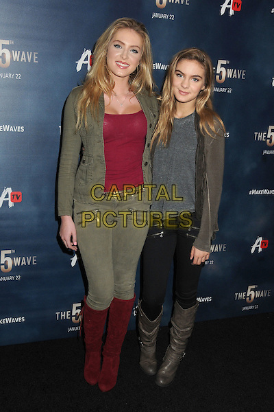 14 January 2016 - Los Angeles, California - Saxon Sharbino, Brighton Sharbino. &quot;The 5th Wave&quot; Los Angeles Premiere held at Pacific Theatres At The Grove.  <br /> CAP/ADM/BP<br /> &copy;BP/ADM/Capital Pictures