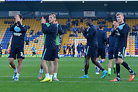 Wycombe Wanderers players acknowledge their supporters prior to the Sky Bet League 2 match between Mansfield Town and Wycombe Wanderers at the One Call Stadium, Mansfield, England on 31 October 2015. Photo by Garry Griffiths.