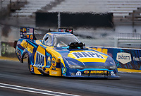 Jul 10, 2020; Clermont, Indiana, USA; NHRA funny car driver Ron Capps during testing for the Lucas Oil Nationals at Lucas Oil Raceway. This will be the first race back for NHRA since the COVID-19 pandemic. Mandatory Credit: Mark J. Rebilas-USA TODAY Sports