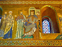 Medieval Byzantine style mosaics of St Peter & Paul & Emperor Nero, Palatine Chapel, Cappella Palatina, Palermo, Italy