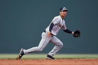 Shortstop Hoy Jun Park (1) of the Charleston RiverDogs plays defense in a game against the Greenville Drive on Thursday, July 27, 2017, at Fluor Field at the West End in Greenville, South Carolina. Charleston won, 5-2. (Tom Priddy/Four Seam Images)