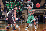 Lehigh Mountain Hawks guard Mackey McKnight (11) andf North Texas Mean Green guard P.J. Hardwick (4) in action during the game between the Lehigh Mountain Hawks and the North Texas Mean Green at the Super Pit arena in Denton, Texas. Lehigh defeats UNT 90 to 75...