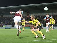 Burnley's Ashley Barnes gets a header on target<br /> <br /> Photographer Mick Walker/CameraSport<br /> <br /> The Carabao Cup Round Three   - Burton Albion  v Burnley - Tuesday  25 September 2018 - Pirelli Stadium - Buron On Trent<br /> <br /> World Copyright © 2018 CameraSport. All rights reserved. 43 Linden Ave. Countesthorpe. Leicester. England. LE8 5PG - Tel: +44 (0) 116 277 4147 - admin@camerasport.com - www.camerasport.com