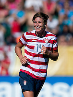 Abby Wambach (14) of the USWNT springs across the box during a friendly match at Sahlen's Stadium in Rochester, NY.  The USWNT defeated Costa Rica, 8-0.