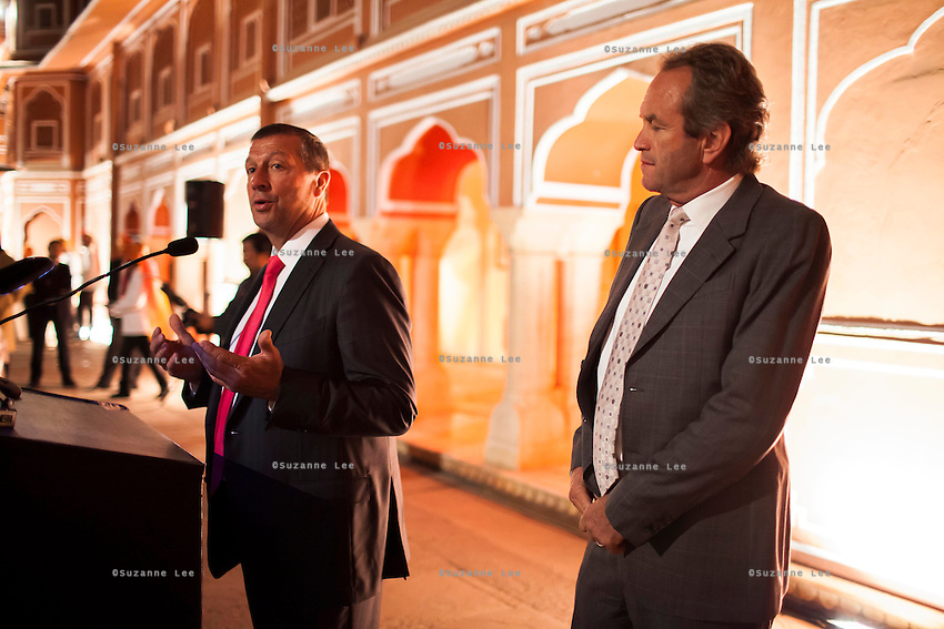 Western Australian Polo Team member Nick Bowen (left) and polo team captain Greg Johnson (right) give a speech together before a violin recital at the OzFest Gala Dinner in the Jaipur City Palace, in Rajasthan, India on 10 January 2013. Photo by Suzanne Lee