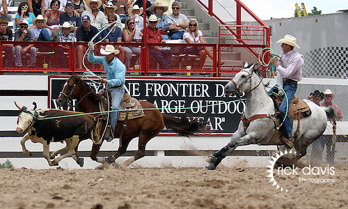 PRCA team ropers Logan Olson and Broc Cresta made the fast run of 10.0 seconds in the team roping during the final round action at the 112th annual Cheyenne Frontier Days Rodeo in Cheyenne, Wyoming on July 27, 2008. Logan and Broc's time of 25.8 seconds on three head was enough to win the championship buckle.