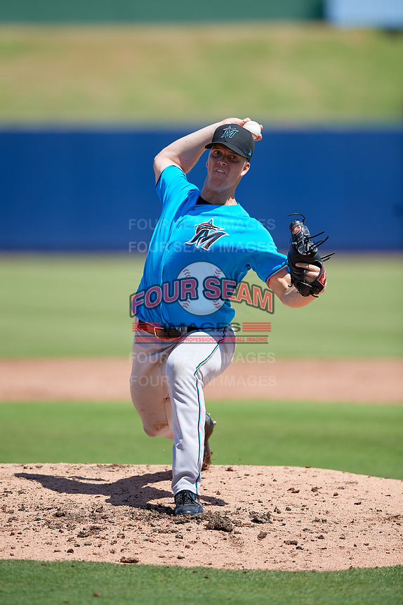 Miami Marlins pitcher Matt Givin (18) during an Instructional League game against the Washington Nationals on September 26, 2019 at FITTEAM Ballpark of The Palm Beaches in Palm Beach, Florida.  (Mike Janes/Four Seam Images)