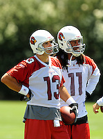 Jun 9, 2008; Tempe, AZ, USA; Arizona Cardinals quarterback (13) Kurt Warner and wide receiver (11) Larry Fitzgerald during mini camp at the Cardinals practice facility. Mandatory Credit: Mark J. Rebilas-